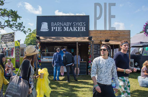 Festival Goers outside Barnaby Sykes Pie Stall